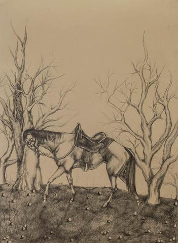 "Riley Jhi, ""Beast of Burden,"" graphite on paper, 18.5"" x 13.5"", 2020."