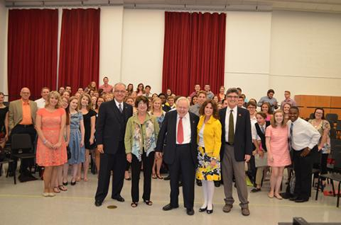 (left to right) Glenn Korff School of Music Director John Richmond, Rhonda and James Seacrest, University of Nebraska Foundation's Lucy Buntain Comine and Hixson-Lied Endowed Dean Charles O'Connor with vocal music students and faculty on Aug. 24.