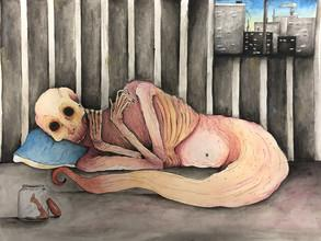 """Shaylee Carlson, """"The Monster in Me,"""" ink and watercolor on paper, 9"""" x 12"""", 2018, Lincoln Arts and Humanities Focus."""