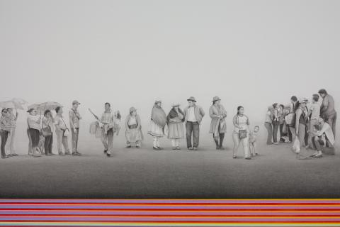 """Francisco Souto, """"Long Food Line (detail)"""", graphite and acrylic, 96"""" x 24"""", 2016. From the collection of Marc and Kathy LeBaron."""
