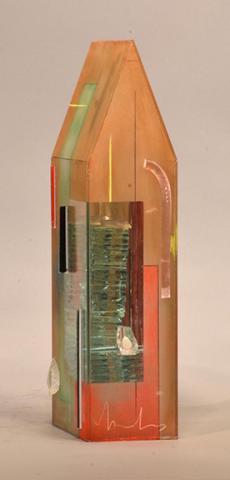 "Therman Statom, ""Legno"", cut sheet glass, 17"" x 4.5"" x 7.5"", 2015."