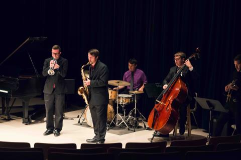 Photo from a previous Undergraduate Jazz Combo performance, pre-covid.