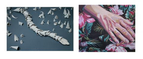 "(left) Phalin Strong, ""Spawn,"" porcelain, 48"" x 32"", 2013, (right) Phoebe Little, ""Hand Study,"" oil on canvas, 12"" x 14"", 2014."