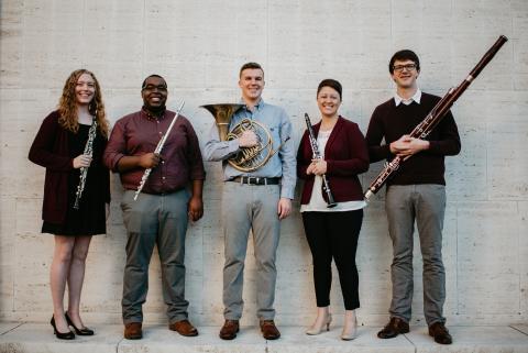 Wesley Reist Wind Quintet (from left) Alyssa Pracht, De Davis, Jordan Redd, Shiana Montanari and Brock Nutter