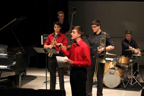 Students performing in Wet Ink