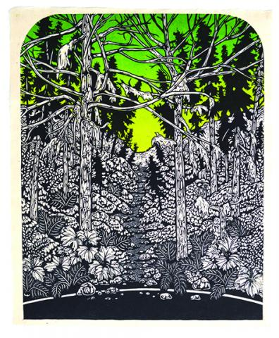 """Josh Winkler, """"the light of the green tunnel,"""" color woodcut, 20"""" x 16"""", 2018."""