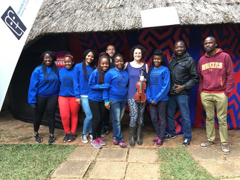 Rebecca Fischer (fourth from left) and Anthony Hawley (fifth from left) with their workshop participants at the Hirare International Arts Festival.