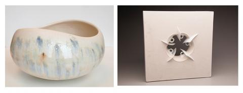 "(left) Normandy Alden, ""Landscape Bowl,"" porcelain, 7"" x 15"", 2014, and  (right) T.J. Edwards, ""5 Espresso,"" 22.5"" x 22.5"" x 6"", gypsum cement and commercially produced porcelain, 2014."