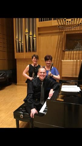 Denise Gainey (left) and Diane Barger will perform as the Amicitia Duo on Sept. 12 with Hixson-Lied Professor of Piano Mark Clinton. Courtesy photo.