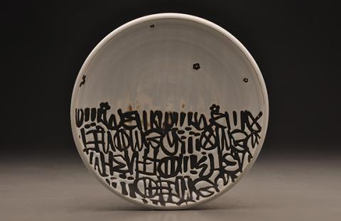 """Avi Arenfeld, Platter, porcelain, 12"""" x 12"""" x 2"""", 2015."""