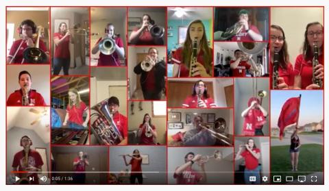 "A collage video featuring members of the Cornhusker Marching Band playing ""Dear Old Nebraska U"" was put together by Nolan O'Keefe."