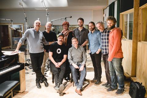 Paul Barnes (back row, left) with Brooklyn Rider, Liana Sandin (back row, third from left) and engineers from Octaven Audio during the recording of a new CD featuring the chamber music of Philip Glass. Photo by Peter Barnes, Intrepid Visuals, L.L.C.
