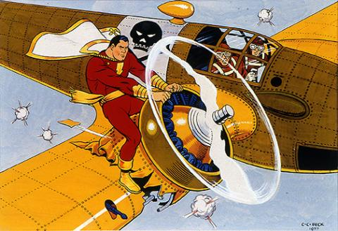 C..C. Beck, Captain Marvel, 1977, watercolor and ink on board,  Sheldon Museum of Art, University of Nebraska–Lincoln. Gift of Dan F. and Barbara J. Howard through the University of Nebraska Foundation, U-5169.2000.