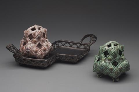 "Margaret Bohls, ""Double Vases on Tray,"" porcelain and stoneware, 2014."
