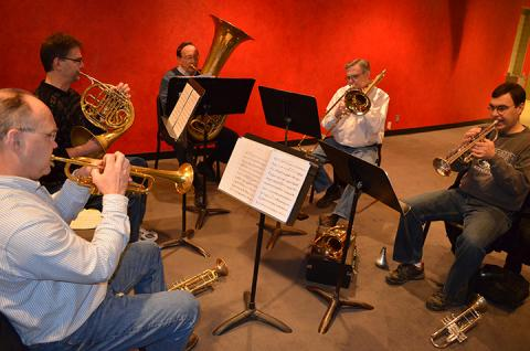 "The University of Nebraska Brass Quintet rehearse ""NeBRASSka"""