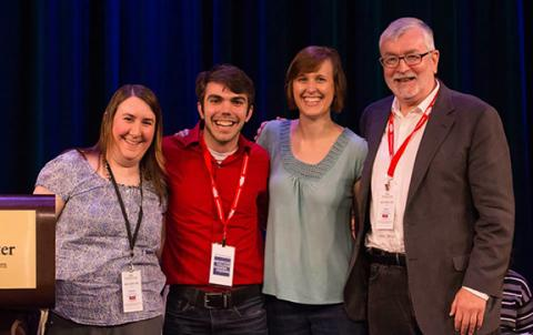 Bryan Howard (second from left) receives the Literary Managers and Dramaturgs of the Americas Dramaturgy Fellowship at the national festival of the Kennedy Center American College Theatre Festival (KCACTF).