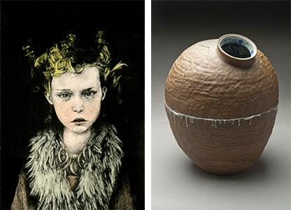 "(left) James Cates,  Savannah College of Art and Design, ""Innocence: Feral Child,"" lithography, 19"" x 13"", 2013, and (right)Wansoo Kim, Grand Valley State University, ""Reversal,"" clay, feldspar, 18"" x 12"", 2014."