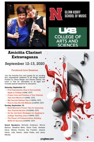 The Amicitia Clarinet Extravaganza, featuring a weekend of free webinars via Zoom and Facebook Live for clarinetists of all ages, will be held Sept. 12-13. The event is free and open to clarinetists of all ages.