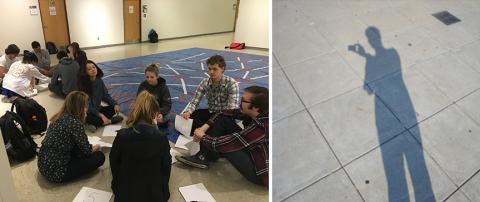 (left) Students playing a computational sorting game; (right) A student documents his campus observations at his observation site. Both photos are from a previous honors seminar on creative thinking. Courtesy photos.
