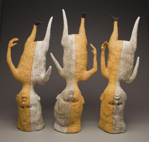 "Crisha Yantis, ""A Different Point of View,"" is one of two pieces featured in the book ""500 Figures in Clay Vol. 2"" by Lark Ceramics."