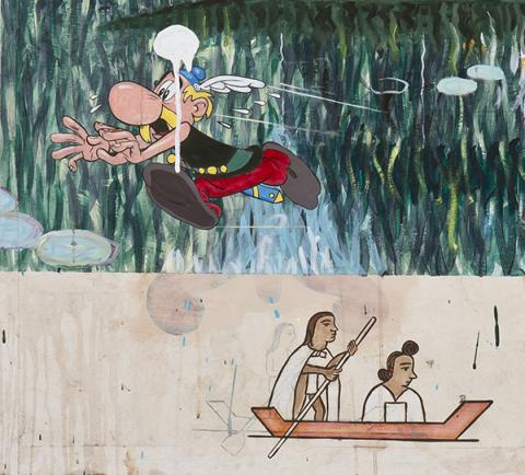 "Enrique Chagoya, ""Le Cannibale Moderniste,"" (detail), mixed media on paper on linen, 1999. 48 1/8 x 96 1/8"", Shledon Museum of Art, Gift of Alexander Liberman and Frances Sheldon by exchange."