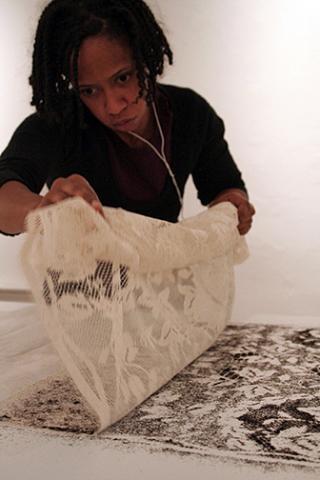 "Althea Murphy-Price, ""Hair Rug No. 1"" (installation)."