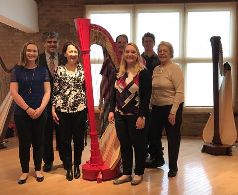 Left to right: Kelly Callahan, Sergio Ruiz, Mary Bircher, Lou Hurst, Melissa Srb, Zach Hurst and Dona Hurst at Lyon & Healy in Chicago.