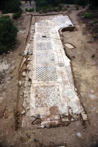 An overhead perspective of the roughly 40 percent of the mosaic uncovered by Michael Hoff's team in the summer of 2013 near a 25-foot-long Roman bath. Its total area was approximately 1,600 square feet when it was fully unearthed. Courtesy photo.