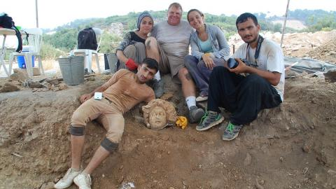 Michael Hoff (third from left), Hixson-Lied professor of art history at the University of Nebraska-Lincoln, with Turkish students who found a Medusa's head at the Antiochia ad Cragum archaeological site in Turkey in 2015.