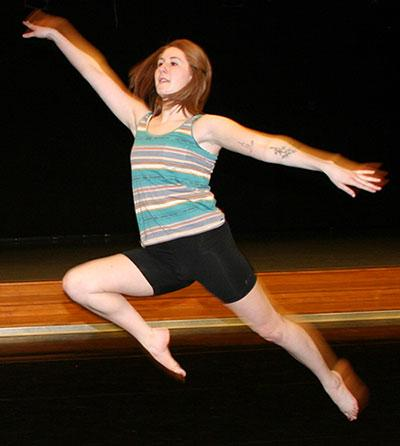 Hannah Husman rehearses in the Mable Lee Hall dance classroom.