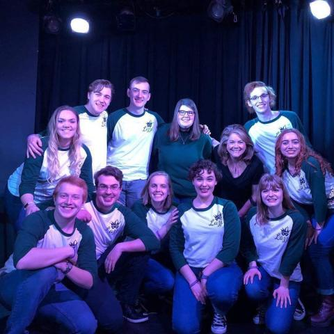 The University of Nebraska–Lincoln's Lazzi placed 2nd at the College Improv Tournament Heartland Regionals on Feb. 9 in Kansas City. Faculty advisor Julie Uribe is pictured in the back row, third from the right. Courtesy photo.