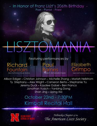 Lisztomania! A Birthday Celebration Franz Liszt as Poet, Pianist and Priest is Sunday, Oct. 22.