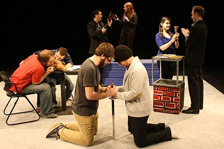 Photo of the playwrights and directors enacting scenes