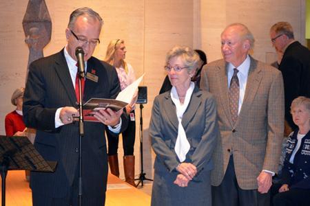 School of Music Director John Richmond (left) with Cynthia and Thomas Olson announcing the creation of The Cynthia Olson Vocal Music Education Doctoral Fellowship Endowment Dec. 7.