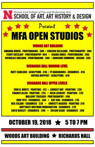 The Fall MFA Open Studios event is Oct. 19 from 5-7 p.m. in Richards Hall and Woods Art Building.