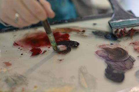 """Students will have the opportunity to come to the Meier Commons, just north of the Nebraska Union, on Monday, April 26 from 9 a.m. to 4 p.m. to contribute a paint stroke to a painting to build community in a project titled """"The Human Connection."""""""
