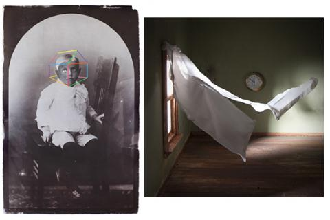 "(left) Daniel Coburn, ""Sanctuary,"" 2012 and (right) Nicole Hupp, ""Curtain,"" 2012."