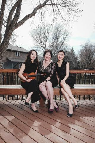 Violinist Hyeyung Yoon and dancers Susan Levine Ourada and Hye-Won Hwang