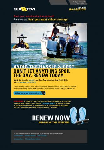 One of Syron's magazine ads for Sea Tow International.