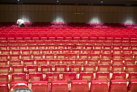 The seats in Kimball Recital Hall have been reupholstered and repaired this summer. Photo by Michael Reinmiller.