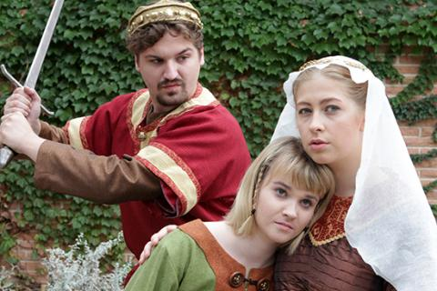 Ryan Rabstejnek as King Ethelred, Maggie Austin as Ymma and Bren Hill as Silence. Photo by Doug Smith.