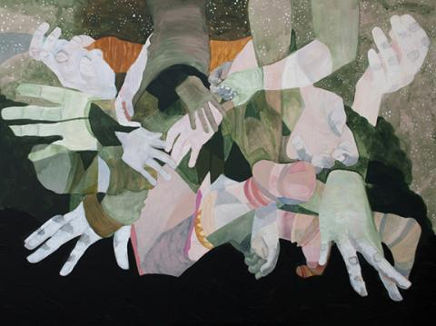 "Audrey Stommes, ""People Helping People,"" acrylic, ink, charcoal and gold leaf on canvas, 36"" x 48"", 2015."