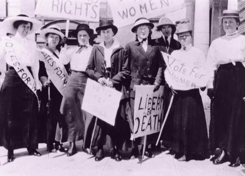 Women campaign for the right to vote in Seattle in 1909.