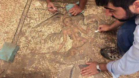 The mythological figure Ganymede appears in this detail of the mosaic paving for an ancient latrine discovered last summer near the town center of the ancient city of Antiochia ad Cragum. Courtesy photo.