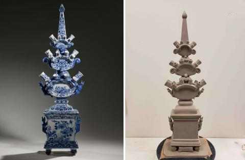 Left: The original object from the Amsterdam Museum:  Tulip Vase, 1675-1699, delft, pottery, located at the Amsterdam Museum, Netherland, purchased in 1966; Right: The recreated tulip vase by Amythest Warrington, in progress.