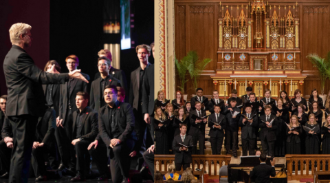 Prior performances from the Varsity Chorus (left) and All-Collegiate Choir (right).