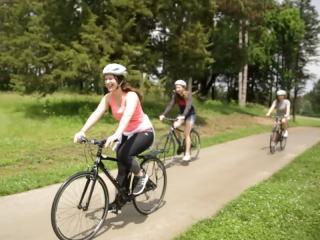 Kelli riding bikes with friends