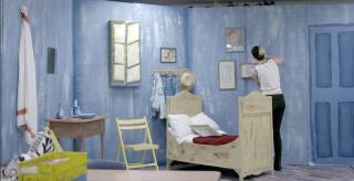 Michel working on the Van Gogh room exhibit