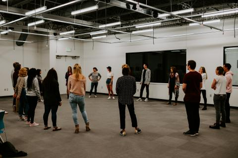 One of the first classes to meet on Aug. 26 in the Carson Center was Games, Play and Performance with Lecturer Julie Uribe. Photo by Justin Mohling.