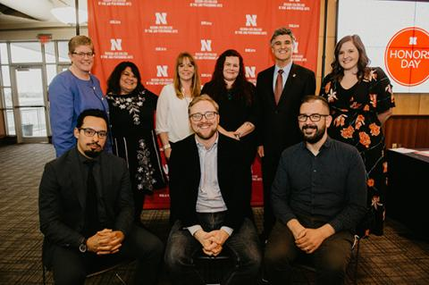 Back row, left to right: Kathe Andersen, Sandra Williams, Jacqueline Mattingly, Meghan Stratman, Dean Chuck O'Connor and Allison Casey. Front row, left to right: Chris Irvin, David von Kampen and Walker Pickering. Not pictured: Colleen Syron and Hans Sturm. Photo by Justin Mohling.